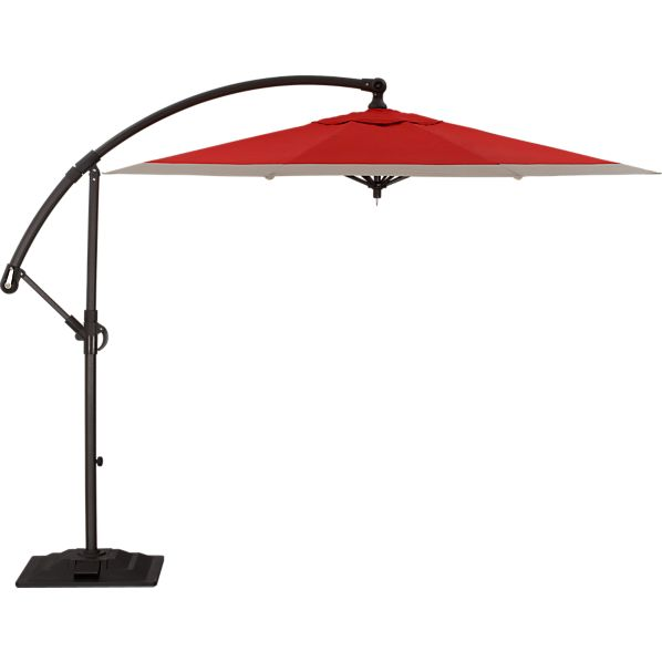 10' Round Sunbrella ® Caliente Banded Free-Arm Umbrella with Base