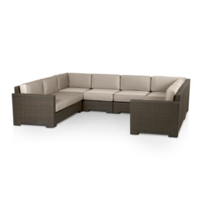 Ventura 6-Piece Loveseat Sectional with Sunbrella® Stone Cushions