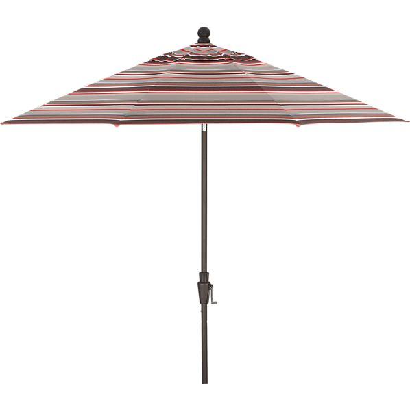 9' Round Sunbrella ® Valencia Stripe Umbrella with Bronze Frame