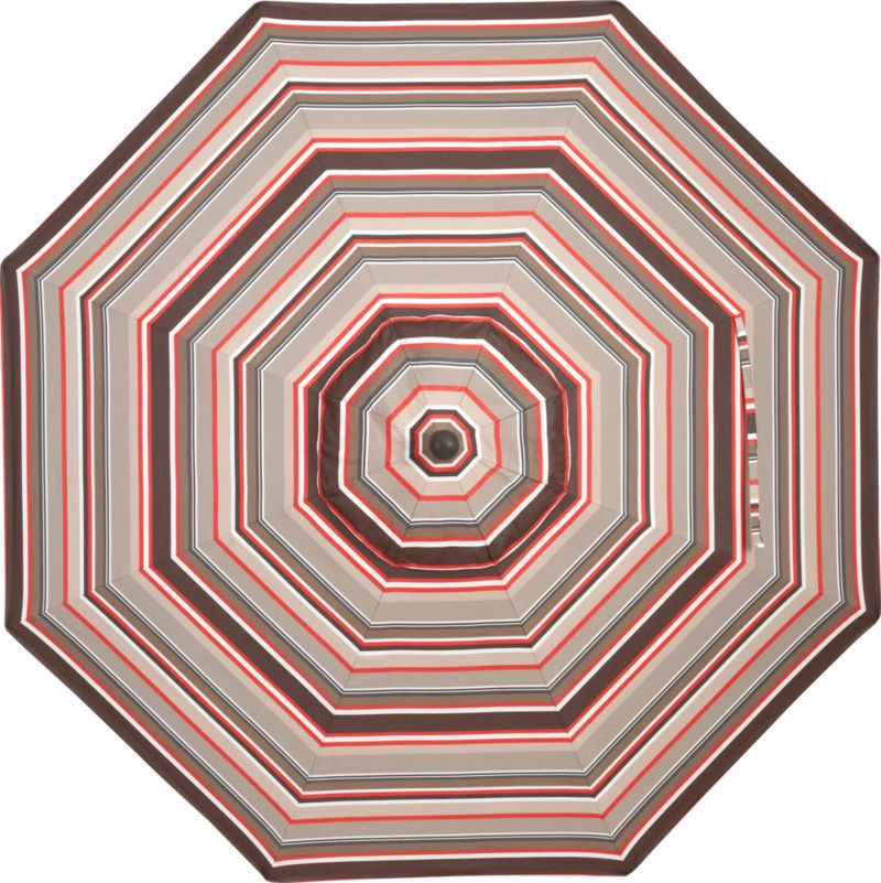 Sophisticated stripes in varying bands of stone, caliente, natural and chocolate block out 98% of the sun's rays. Fits all of our 9' round frames. Frames and stands sold separately.<br /><br /><NEWTAG/><ul><li>Cover: fade- and mildew-resistant Sunbrella acrylic umbrella (fits all 9' round frames; spot clean)</li><li>Frames (sold separately): aluminum tilt with bronze or charcoal finish</li><li>Made in USA</li></ul><br />