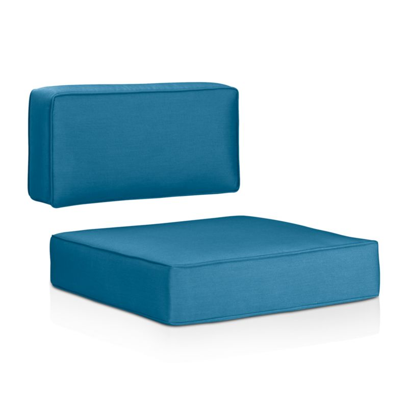 Sleek outdoor cushions with self-welt detail sit deep on our Ventura modular and lounge chairs. Cushions are covered in fade- and mildew-resistant Sunbrella acrylic. The Ventura Outdoor Sunbrella Sectional/Lounge Chair Cushions are a Crate and Barrel exclusive.<br /><br /><NEWTAG/><ul><li>Fade- and mildew-resistant Sunbrella acrylic</li><li>Foam fill</li><li>Made in USA</li></ul>