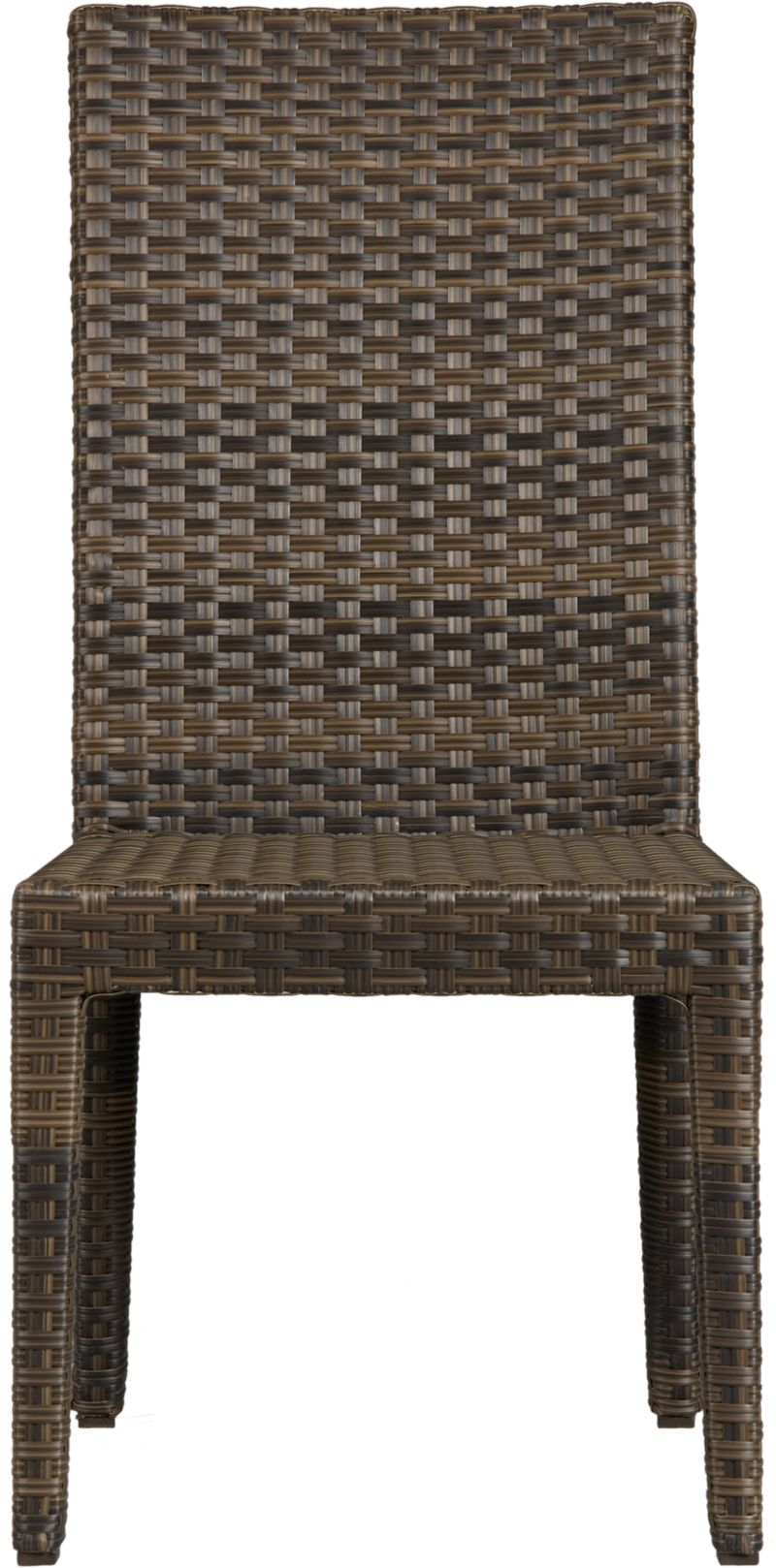 Ventura's comfortably pitched side chair offers a linear contemporary look in sturdy powdercoated aluminum, hand-wrapped in cool granite UV- and weather-resistant resin wicker with warm caramel overtones.<br /><br /><NEWTAG/><ul><li>UV-stabilized, fade-resistant, recyclable resin wicker</li><li>Aluminum frames with bronze powdercoat finish</li><li>Made in Indonesia</li></ul>