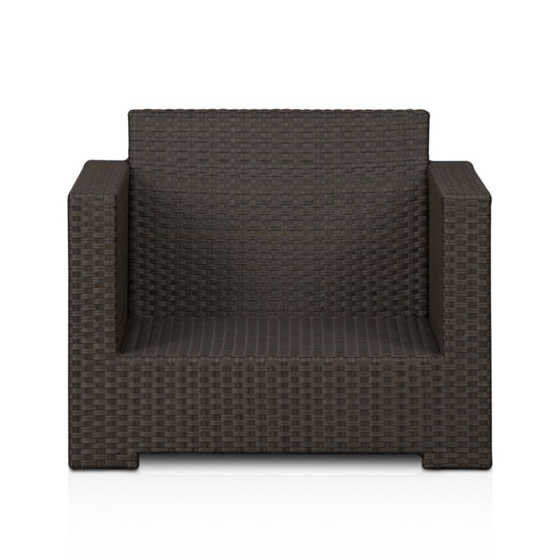 Lounge in Ventura's sink-in, chill-out seating. Arm chair sits alone or configures with its sectional counterparts. Contemporary square frame in sturdy powdercoated aluminum is hand-wrapped in cool granite UV- and weather-resistant resin wicker with warm caramel overtones.<br /><br /><NEWTAG/><ul><li>Aluminum frame with bronze powdercoat finish</li><li>UV-resistant, recyclable resin wicker</li><li>For indoor or outdoor use</li><li>Made in Indonesia</li></ul>