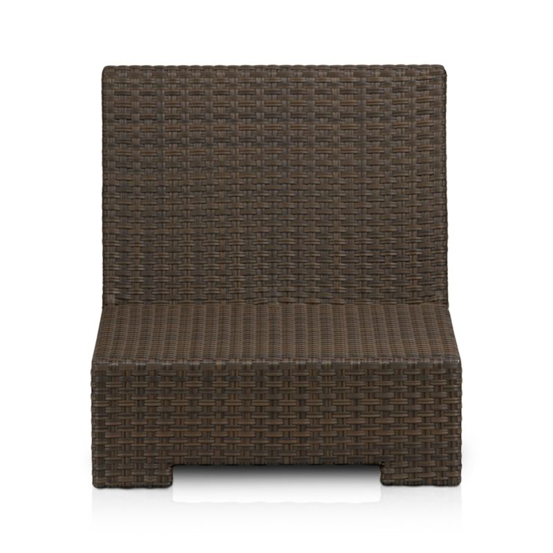 Lounge in Ventura's sink-in, chill-out modular seating. Armless chair sits alone or configures with its sectional counterparts. Contemporary square frame in sturdy powdercoated aluminum is hand-wrapped in cool granite UV- and weather-resistant resin wicker with warm caramel overtones.<br /><ul><li>UV-resistant, recyclable resin wicker</li><li>Aluminum frame with bronze powdercoat finish</li><li>Made in Indonesia</li></ul><NEWTAG/>