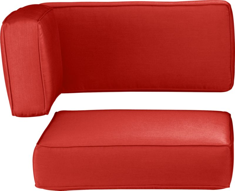 Modern, squared-off modular corner cushions in fade- and mildew-resistant Sunbrella® acrylic are a spicy caliente. Ventura dining collection also available.<br /><br />After you place your order, we will send a fabric swatch via next day air for your final approval. We will contact you to verify both your receipt and approval of the fabric swatch before finalizing your order.<br /><br /><NEWTAG/><ul><li>Fade- and mildew-resistant Sunbrella acrylic</li><li>Spot clean</li><li>Polyurethane foam cushion fill</li><li>Made in USA</li></ul>