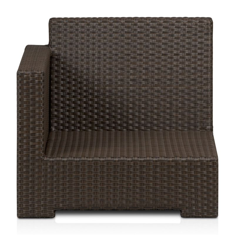 The ultimate modular lounge in the ultimate weather-resistant materials, our exclusive Ventura collection lets you customize your ideal outdoor living space. Modular left arm chair has a contemporary square frame in sturdy powdercoated aluminum, hand-wrapped in UV- and weather-resistant resin wicker in cool granite with warm caramel overtones. <NEWTAG/><ul><li>UV-resistant, recyclable resin wicker</li><li>Aluminum frame with bronze powdercoat finish</li><li>Made in Indonesia</li></ul>