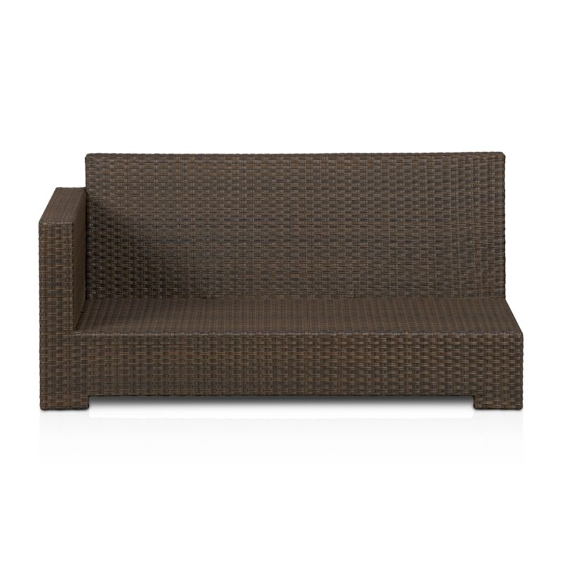 Lounge in Ventura's sink-in, chill-out modular seating. Create a customized seating setup with versatile pieces crafted with contemporary square frames in sturdy powdercoated aluminum, hand-wrapped in UV- and weather-resistant resin wicker in a chic granite hue with warm caramel overtones. <NEWTAG/><ul><li>UV-resistant, recyclable resin wicker</li><li>Aluminum frame with bronze powdercoat finish</li><li>Made in Indonesia</li></ul>