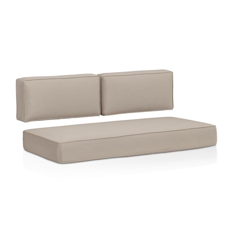 Deep, squared-off cushions with self-welt detail covered in fade- and mildew-resistant Sunbrella acrylic add a plush layer to our Ventura modular loveseat. The Ventura Outdoor Sunbrella Sectional Loveseat Cushions are a Crate and Barrel exclusive.<br /><br /><NEWTAG/><ul><li>Fade- and mildew-resistant Sunbrella acrylic</li><li>Foam fill</li><li>Made in USA</li></ul>