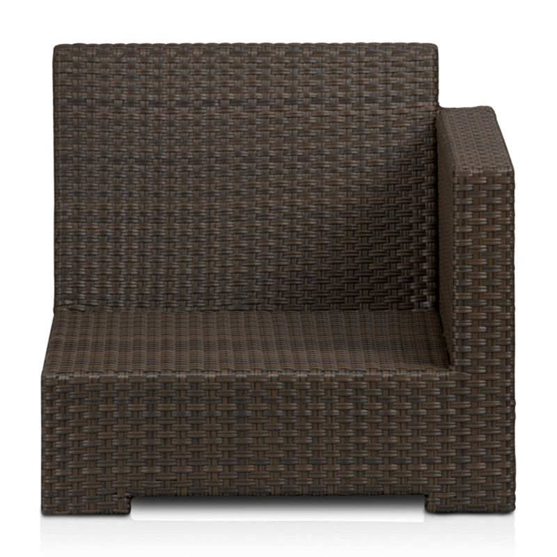 Crafted of the ultimate weather-resistant materials, our exclusive Ventura collection lets you customize your ideal outdoor living space with chill-out comfort. Angular contemporary right arm chair frame in sturdy powdercoated aluminum is hand-wrapped in cool granite resin wicker with warm caramel overtones. <NEWTAG/><ul><li>UV-resistant, recyclable resin wicker</li><li>Aluminum frame with bronze powdercoat finish</li><li>Made in Indonesia</li></ul>