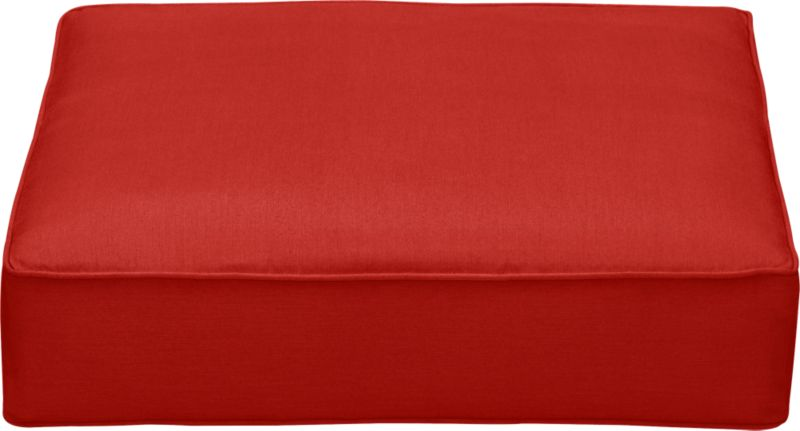 Thick cushion in fade- and mildew-resistant Sunbrella acrylic adds plush comfort and a splash of bright caliente to our Ventura ottoman.<br /><br />After you place your order, we will send a fabric swatch via next day air for your final approval. We will contact you to verify both your receipt and approval of the fabric swatch before finalizing your order.<br /><br /><NEWTAG/><ul><li>Fade- and mildew-resistant Sunbrella acrylic</li><li>Polyurethane foam cushion fill</li><li>Spot clean the cushion cover</li><li>Made in USA</li></ul>