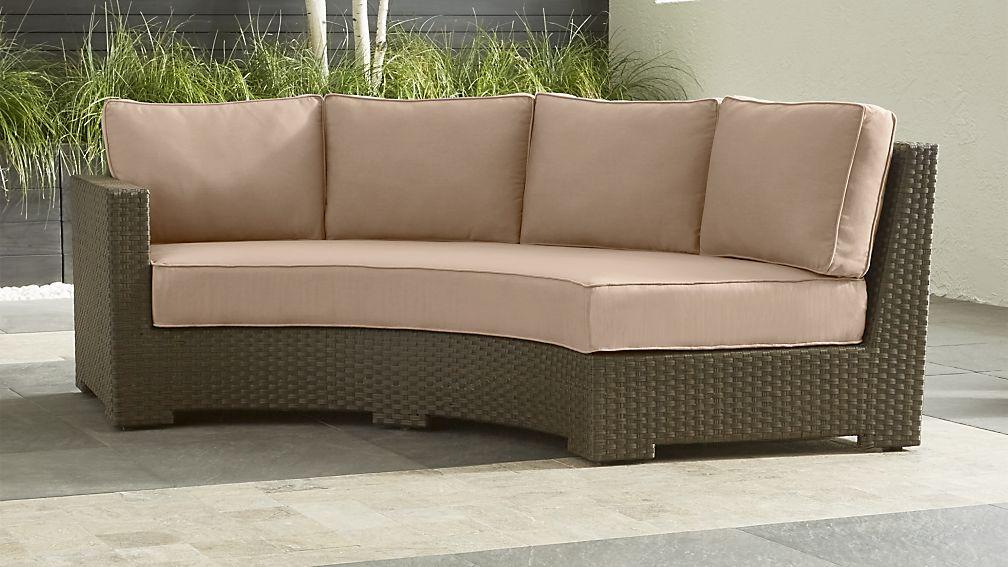 Ventura Umber Round Left Arm Sofa with Sunbrella ® Cushions