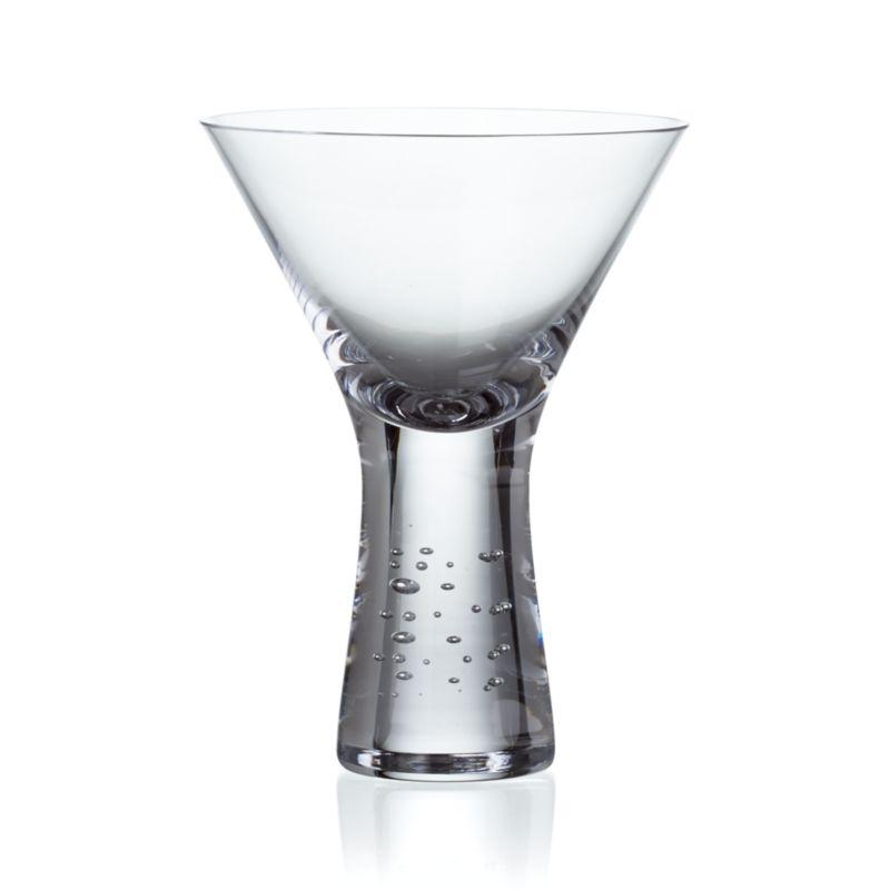 A hefty, solid sham lends gravitas to this dramatic contemporary martini glass, lightened by an uplifting play of random bubbles.<br /><br /><NEWTAG/><ul><li>Handmade</li><li>Hand washing recommended</li><li>Made in Poland</li></ul><br />