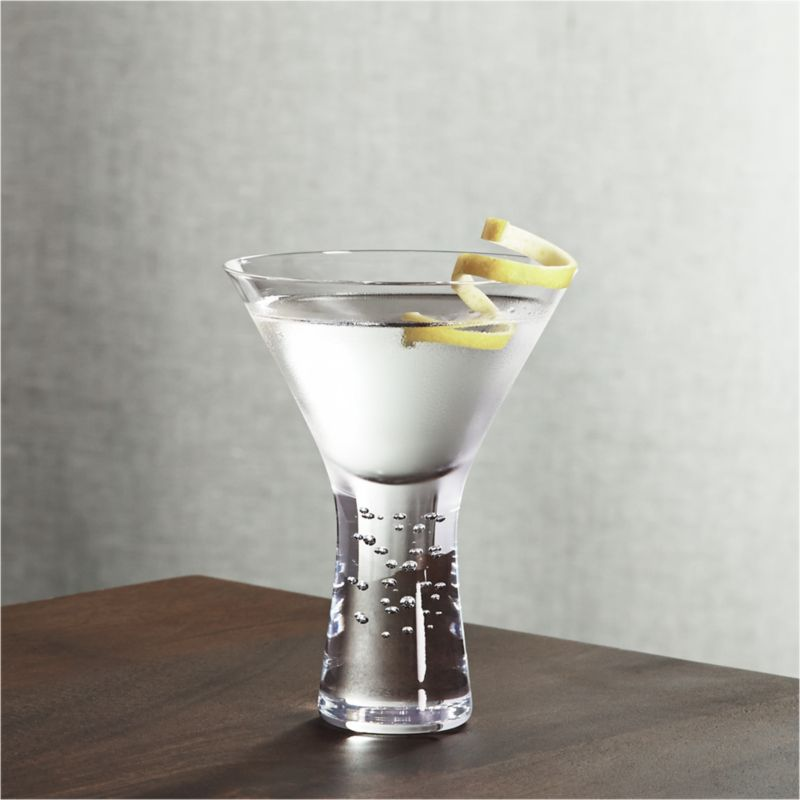 A hefty, solid sham lends gravitas to this dramatic contemporary martini glass, lightened by an uplifting play of random bubbles.<br /><br /><NEWTAG/><ul><li>Handmade</li><li>Hand washing recommended</li><li>Made in Poland</li></ul><br />