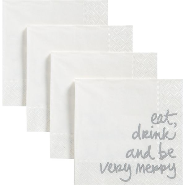 Set of 20 Very Merry Beverage Napkins