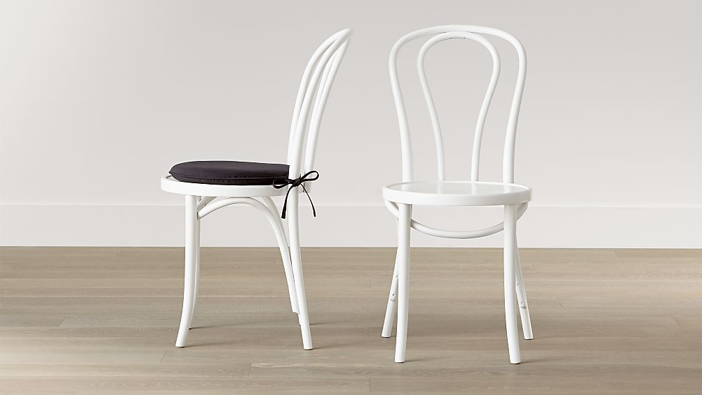 vienna white wood dining chair and cushion crate and barrel
