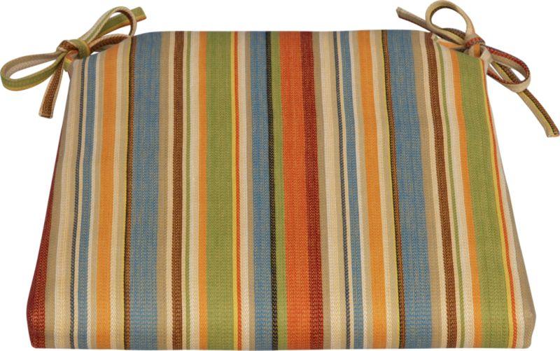 Tie on extra comfort with our all-cotton cushion in a kitchen-friendly stripe for all seasons.<br /><br /><NEWTAG/><ul><li>100% cotton fabric</li><li>High density polyester foam and fill</li><li>Zipper closure</li><li>Tie back</li><li>Machine wash removable cover</li><li>Made in India</li></ul>