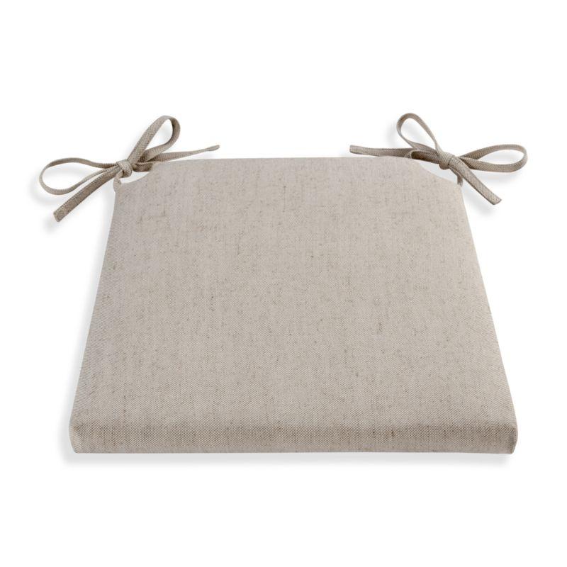 Tie on extra comfort with our cotton-linen cushion in a neutral go-with-everything hue.<br /><br /><NEWTAG/><ul><li>51% cotton, 49% linen</li><li>100% polyester foam and fill</li><li>Tie back</li><li>Machine wash the removable cover</li><li>Made in India</li></ul>
