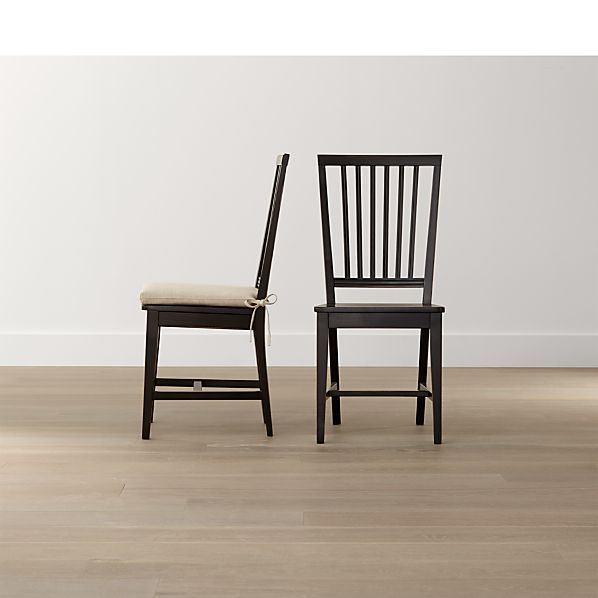Village Black Wood Dining Chair and Natural Cushion