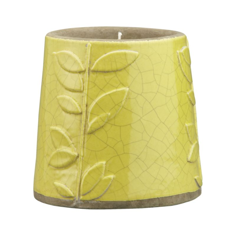 Day or night, vibrant candleholder shines vivid color and casual charm.  Whimsical earthenware pot sprouts hand-embossed leafy vines, glazed bright apple green with crackle graze. Holds a single tealight or standard votive candle.<br /><br /><NEWTAG/><ul><li>Earthenware</li><li>Wipe clean with damp cloth</li><li>Candle pot accommodates one standard votive or tealight candle, sold separately</li><li>Made in The Philippines</li></ul>