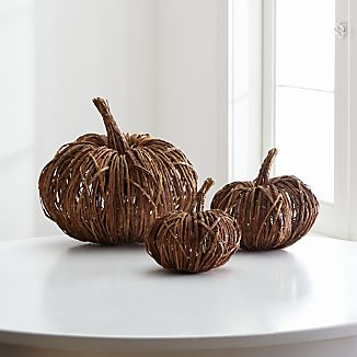 Crafted out of dried vines and twigs, our rustic pumpkin adds artisanal charm to fall décor and holiday gatherings. Because it's made from natural materials, each pumpkin will have its unique shape.Check out our fall decorating tips and advice.Natural vines, twigs and wireMade in China