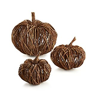 Crafted out of dried vines and twigs, our rustic pumpkin adds artisanal charm to fall décor and holiday gatherings. Because it's made from natural materials, each pumpkin will have its unique shape.Natural vines, twigs and wireMade in China