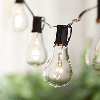 Dress your patio with warm look of vintage bulbs. Yesteryear-inspired string lights line up uniquely shaped glass bulbs with exposed filaments inspired by historic Edison bulbs. String up to three strands to decorate indoor or outdoor spaces end to end.Learn how to  set the mood with beautiful outdoor lighting ideas and advice.