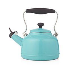 Vintage Aqua Steel Enamel Tea Kettle