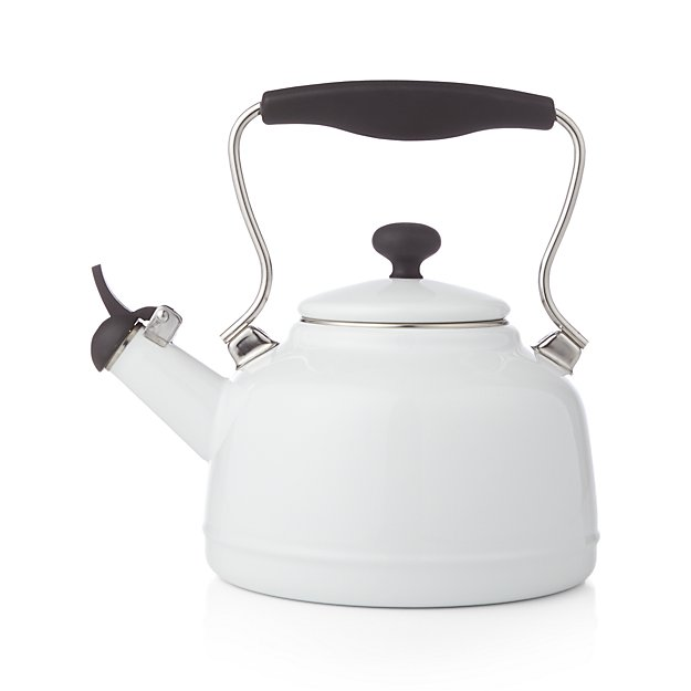 Chantal 174 Vintage White Steel Enamel Tea Kettle Crate
