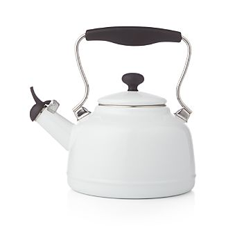 Vintage White Steel Enamel Tea Kettle