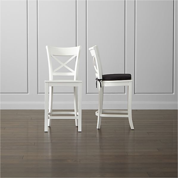 Vintner White Bar Stool and Cushion