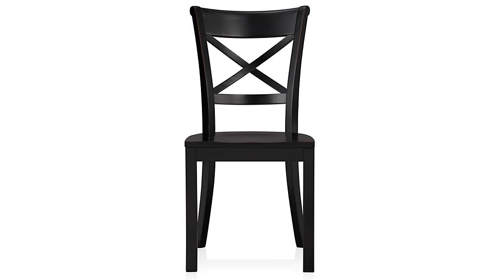 Vintner Black Wood Dining Chair and Cushion : Crate and Barrel