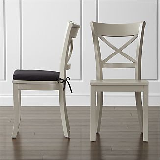 Vintner Dove Wood Dining Chair and Black Cushion