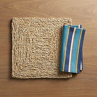 Vista Square Placemat and Riva Stripe Blue Napkin