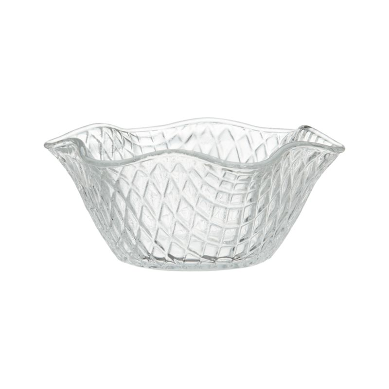 Unabashedly old-time looks put the social in serving ice cream. Everyone's favorite frozen treat gets star treatment cradled in a waffle-weave glass dish with ruffle rim, crafted of molded glass. Also great for candies or nuts.<br /><br /><NEWTAG/><ul><li>Glass</li><li>Dishwasher- and freezer-safe</li><li>Made in Italy</li></ul>