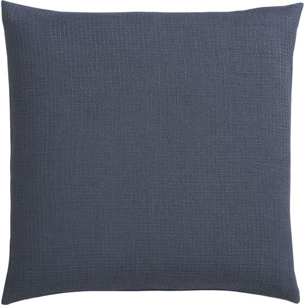 "Waffle Blue 23"" Pillow with Feather-Down Insert"