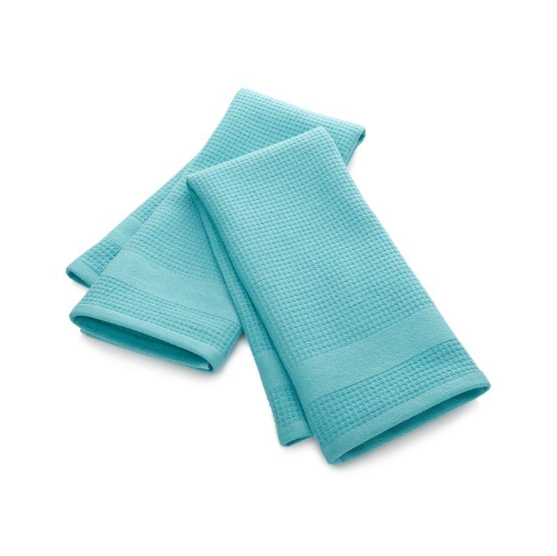 Set of 2 Waffle-Terry Aqua Dish Towels