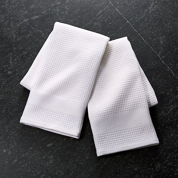 Set of 2 Waffle-Terry White Dish Towels