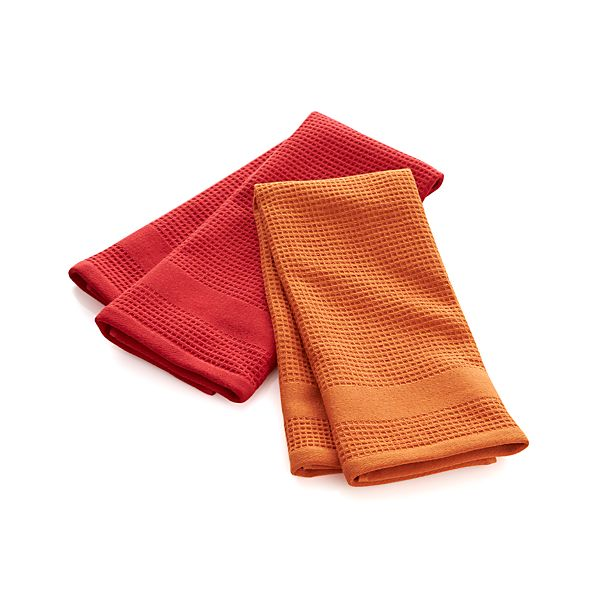 Set of 2 Red Waffle-Terry Dish Towels