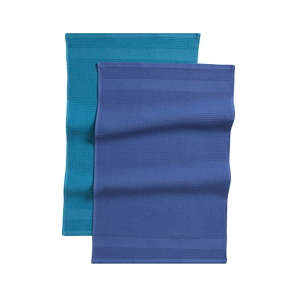 Set of 2 Waffle-Terry Blue Dish Towels