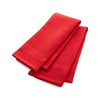 Set of 2 Waffle-Terry Red Dish Towels