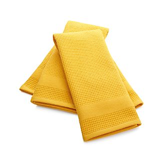 Set of 2 Waffle-Terry Yellow Dish Towels