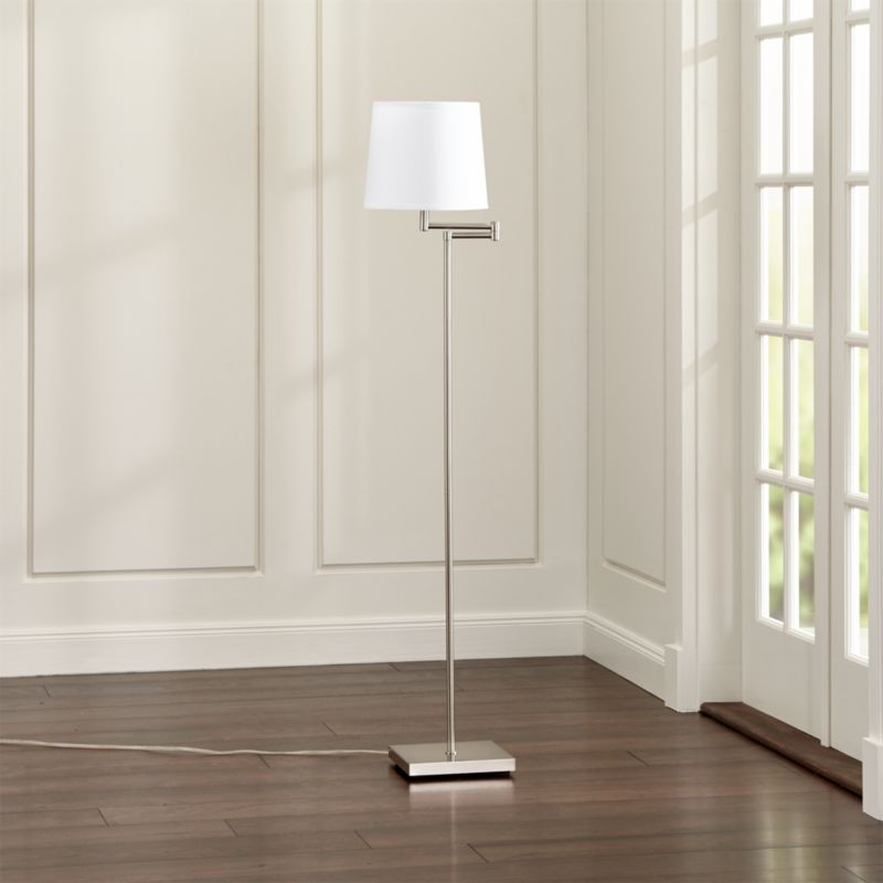 Adams Nickel Swing Arm Floor Lamp