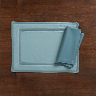 Walker Smoke Blue Placemat and Sateen Smoke Blue Napkin