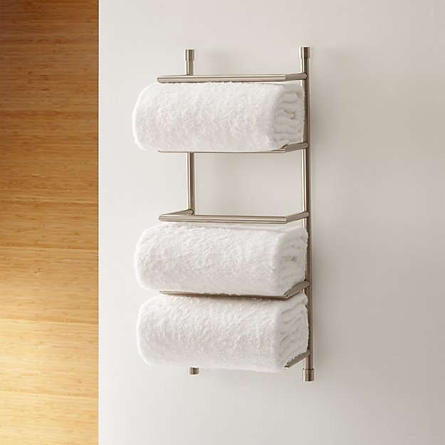 Brushed Steel Wall Mount Towel Rack Crate And Barrel