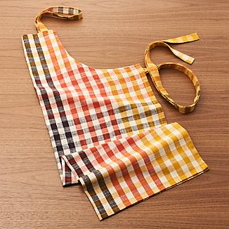 Warm Orange-Yellow Check Apron