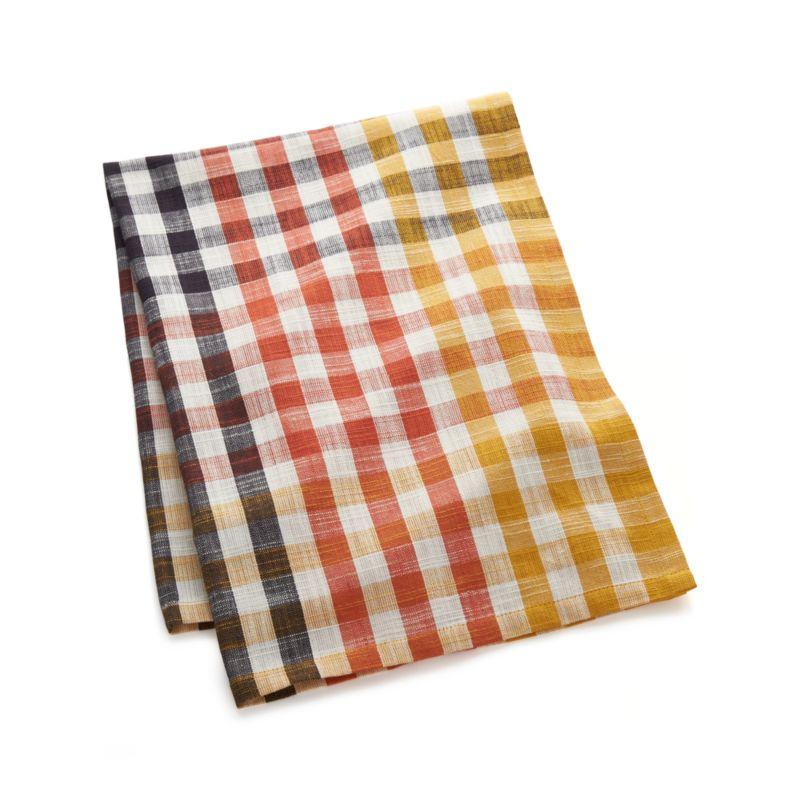 Warm Orange-Yellow Check Dish Towel