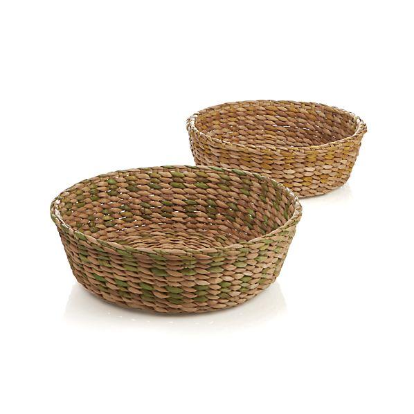 2-Piece Water Hyacinth Basket Set