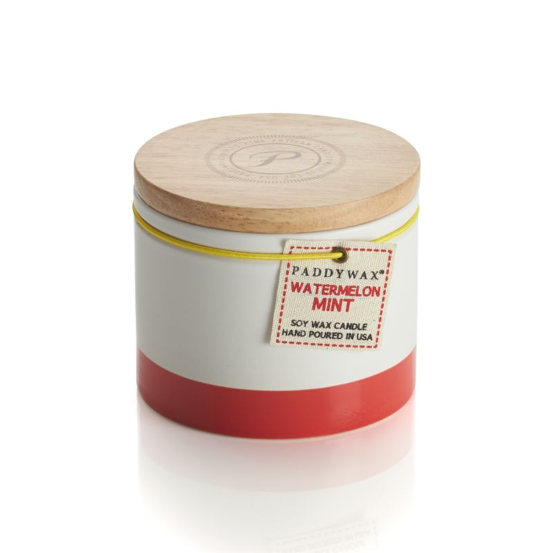 The sweet smell of watermelon and mint infuses the home with the scents of summer. Ceramic candleholder continues to shine in white with sunny stripes when not in use, topped with a wood lid.<br /><br /><NEWTAG/><ul><li>Scented wax</li><li>Cotton wick</li><li>Ceramic candleholder with wood lid</li><li>Burn time: 40 hours</li><li>Made in China and USA</li></ul>