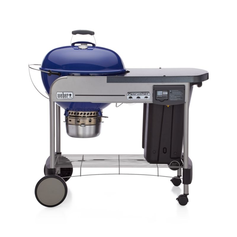 weber blue performer deluxe charcoal grill crate and barrel. Black Bedroom Furniture Sets. Home Design Ideas