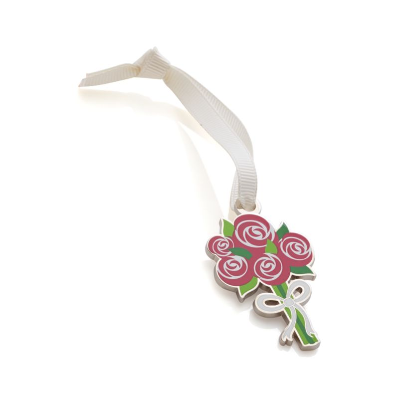 Add a little charm to wedding, shower or Mother's Day gifts with this nickel-plated and enameled trinket crafted to look like a wedding bouquet.<br /><br /><NEWTAG/><ul><li>Nickel-plated metal and enamel</li><li>Ivory grosgrain ribbon</li><li>Made in China</li></ul>